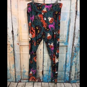 LuLaRoe Halloween Cat Pumpkin Leggings Size TC2